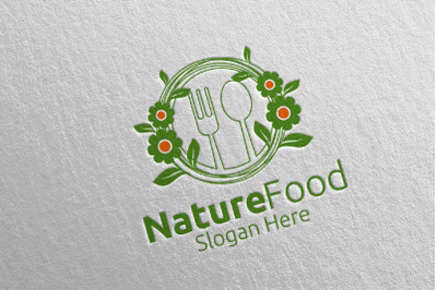 Nature Food Logo Template for Restaurant or Cafe 18