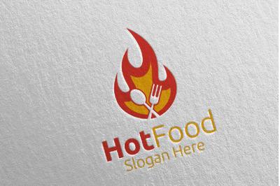Hot Food Logo Template for Restaurant or Cafe 19