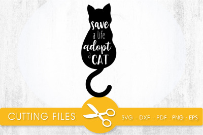 Adopt a Cat  SVG, PNG, EPS, DXF, Cut File