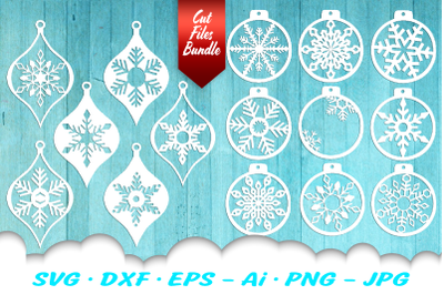 Snowflake Christmas Ornament Earring SVG DXF Cut Files