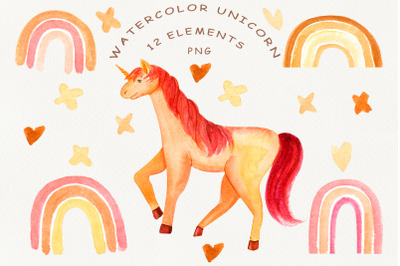 watercolor unicorn. pink rainbow