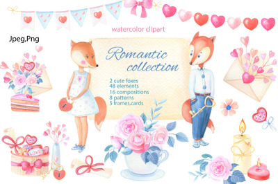 Romantic collection.Watercolor