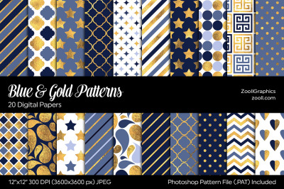 Blue And Gold Digital Papers