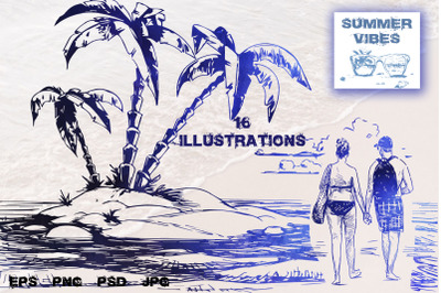 Summer illustration. Hand drawn set