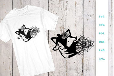 6. Floral Cute Fox svg file, Fox Cut File dxf