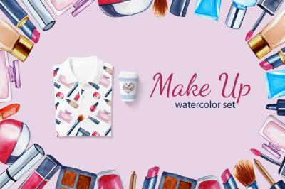 Watercolor Make Up set, Beauty clip art