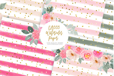 Pink Floral Digital Paper Pack, Wedding Paper Pack