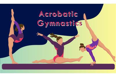 Acrobatic Gymnast Women Flat Charaster