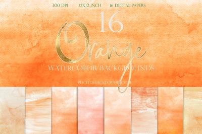Orange Ombre Watercolor Digital Paper