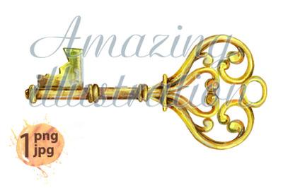 Watercolor vintage golden key