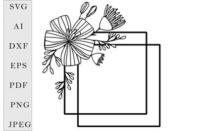 square frame daisy flowers