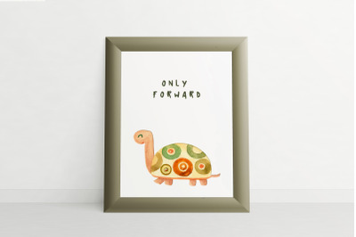 turtle watercolor. motivational quotes