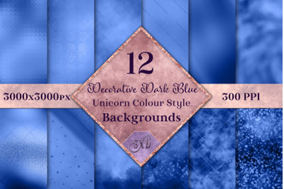 Decorative Dark Blue Unicorn Style Backgrounds Textures