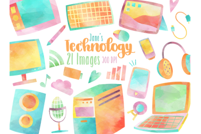 Watercolor Technology Clipart