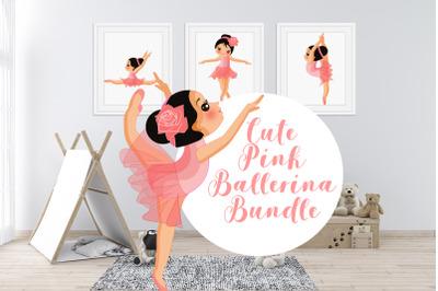 Cute Pink Ballerina Bundle Clipart Graphic