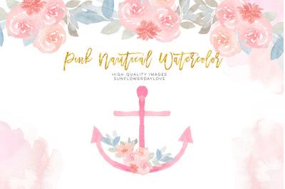 Gold and Pink Nautical Clipart, Anchor clip art, Sailboat clip art