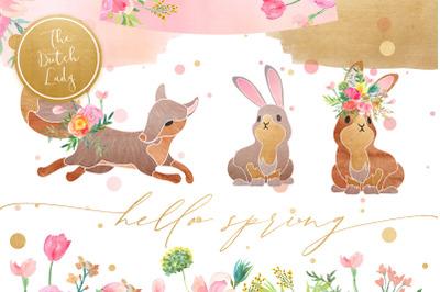Hello Spring Clipart Set