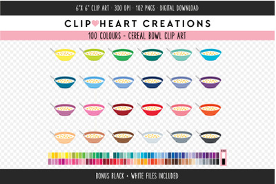 Cereal Bowl Clipart - 100 Colours