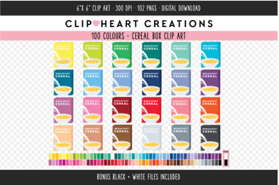 Cereal Box Clipart - 100 Colours