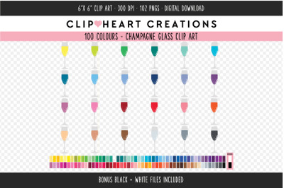 Champagne Glass Clipart - 100 Colours