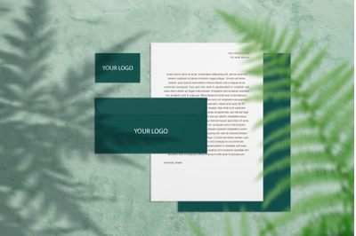 Stationery branding mock up with fern and shadows