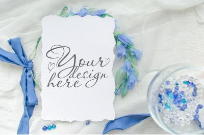Classic blue wedding card mock up 5x7 inch