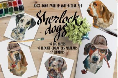 Sherlock dogs Watercolor set