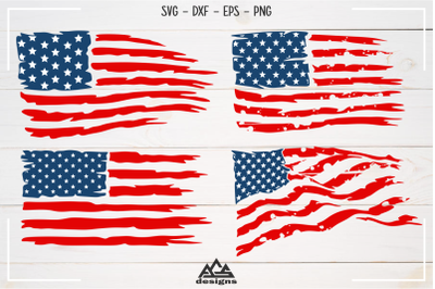 USA Flag Distressed Svg Design