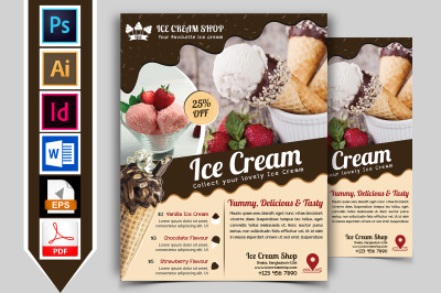 Ice Cream Shop Flyer Template Vol-03