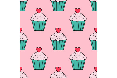 Cute muffins,cupcakes seamless pattern.Valentine's day pattern.