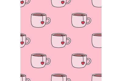Cute tea cups seamless pattern.Valentine's day seamless pattern.