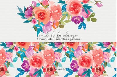 Coral & Fandango Watercolor Floral Clipart Set