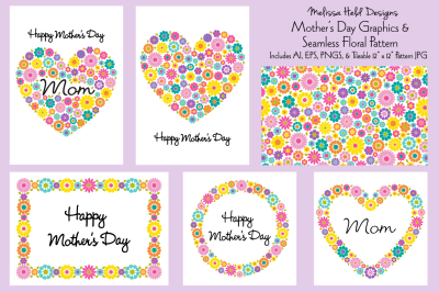 Mother's Day Graphics & Seamless Pattern