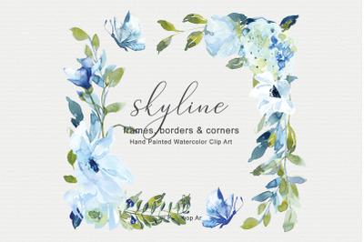 Light Blue Watercolor Floral Frame Set