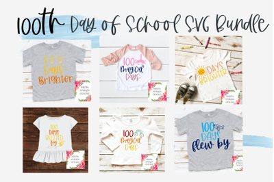 100 Days Brighter 100th Day of School BUNDLE SVG DXF EPS PNG Cut File