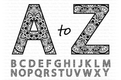 Mandala Alphabet SVG, Mandala Letters,   Alphabet Clipart Cut Files