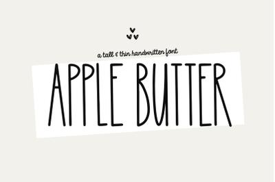 Apple Butter - A Tall and Thin Handwritten Font
