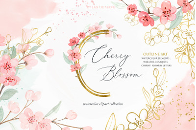 Cherry Blossom Watercolor & Gold floral collection.