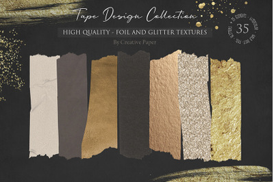 Foil and Glitter & Tape Design Collection (JPG-PNG) 35 Elements