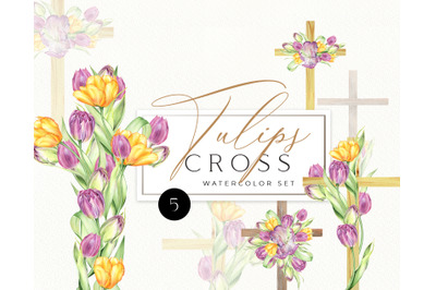Watercolor Floral Cross, Baptism, Wood Cross, tulips Clipart, Hand Pai