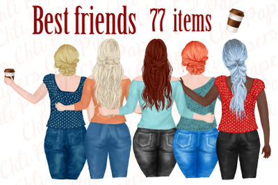 Best Friends Clipart,Plus size girls, Portrait Creator