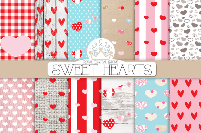 VALENTINES Day SWEET HEARTS digital paper