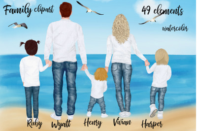 Family clipart,Dad Mom Children, Watercolor people,Couples