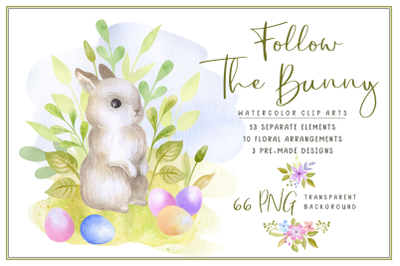 Follow the bunny. Watercolor Easter clip art.