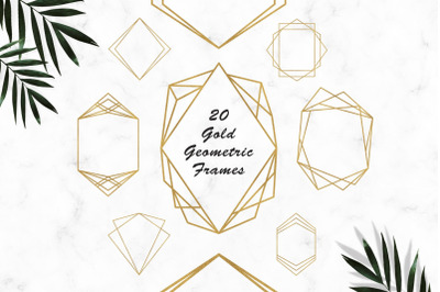 Gold Frames Clipart, Gold Glitter Geometric Frames Clipart, Digital Fr