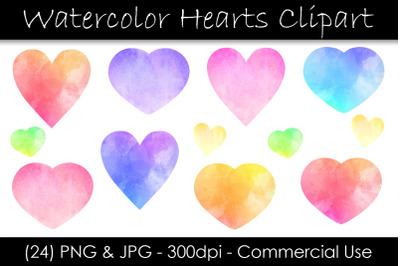 Watercolor Heart Clip Art - Valentine's Day Hearts