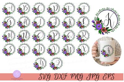 Script Monogram in Floral Wreath - Full Set