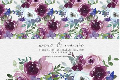 Wine & Mauve Watercolor Floral Clipart Set