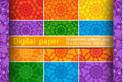 Set of mysterious mandala seamless patterns. Digital paper