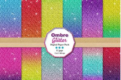 Ombre Glitter Paper, digital glitter paper
